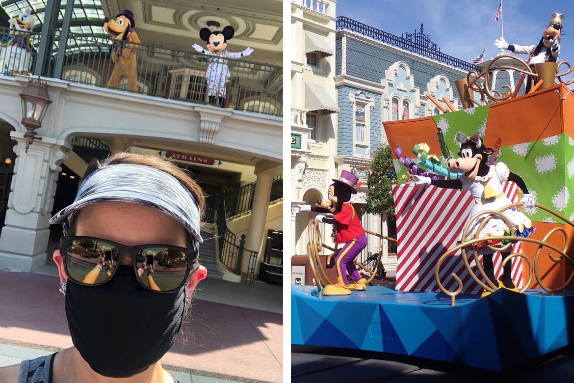 Left: Featured author, Jennifer Harmon, appearing with Mickey and the Gang at Main Street Train Station.Right: Spontaneous character cavalcade float with Max, Goofy and Clarabelle.