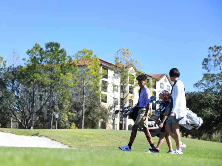 Two golfers on The Legends at Orange Lake Resort near Orlando, Florida.