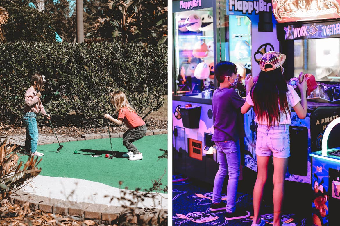 Left: Poppy Bleu (left) and her cousin (right) play mini golf at our Orange Lake resort located in Orlando, Florida. Right: Grey (left) and his cousin (right) play in the arcade at our Orange Lake resort located in Orlando, Florida.