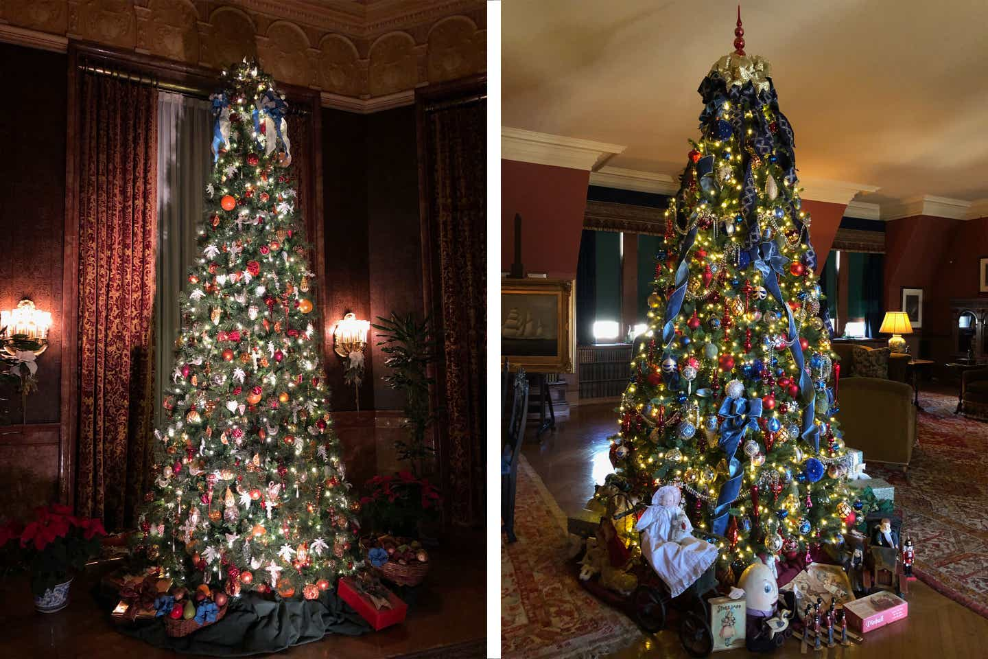 Left: A large Christmas tree decorated with cascading red ribbons and various ornaments. Right: A large Christmas tree decorated with cascading blue ribbons, various ornaments and toys beneath the tree.