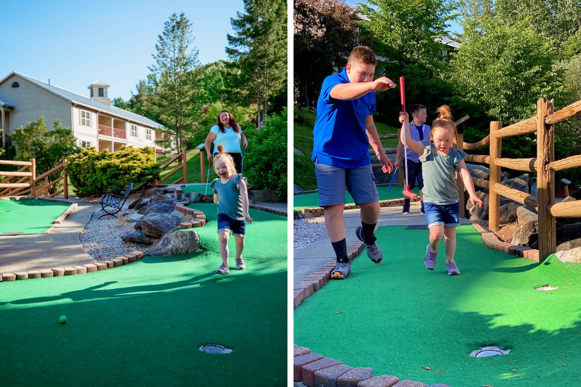 Left: A young caucasian girl (front) wearing a green top and denim shorts walks down the putting green with a caucasian woman (back) holding a putter. Right: Two caucasian boys (front-left and back) walk around a caucasian girl (middle) holding putters.