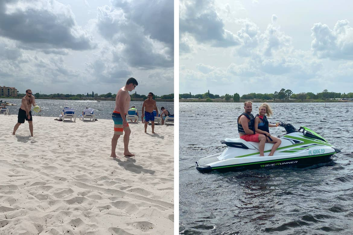 Left: Three men wearing swim trunks play beach volleyball near a body of water. Right: A male (left) and female (right) wearing swimwear and black life vests sit on a Jet Ski wading in a body of water.