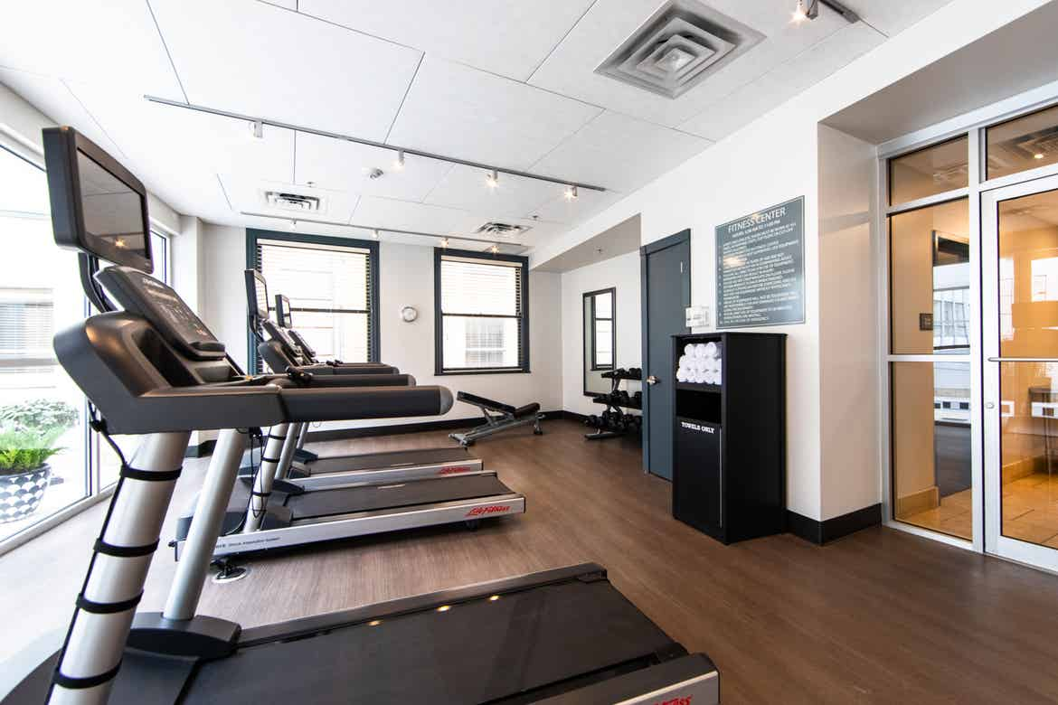 The interior of the fitness center featuring several treadmills located at our resort in New Orleans, Louisiana.