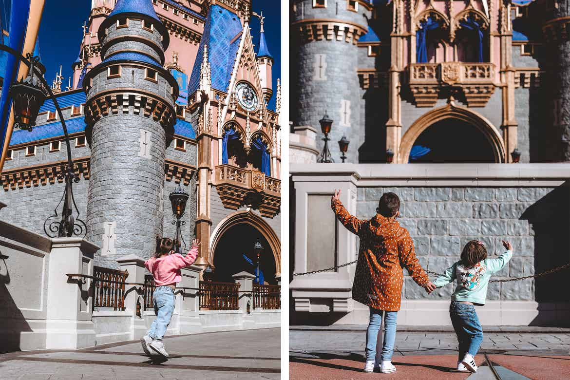 Left: Roux skips in front of Cinderella's Castle at Magic Kingdom Park at Walt Disney World® Resort wearing a pink sweater and jeans. Right: Grey (left) wears an orange jacket and Poppy Blue (right) wears a blue sweatshirt in front of Cinderella's Castle.
