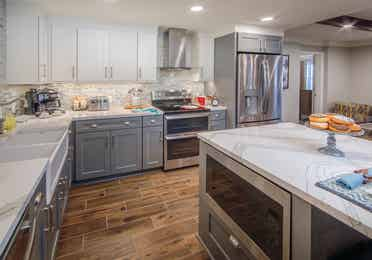 The kitchen in a four-bedroom Signature Collection villa at Cape Canaveral Resort