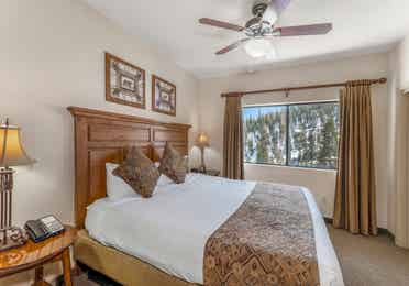 Bedroom in a Ridge Pointe two-bedroom villa at Tahoe Ridge Resort