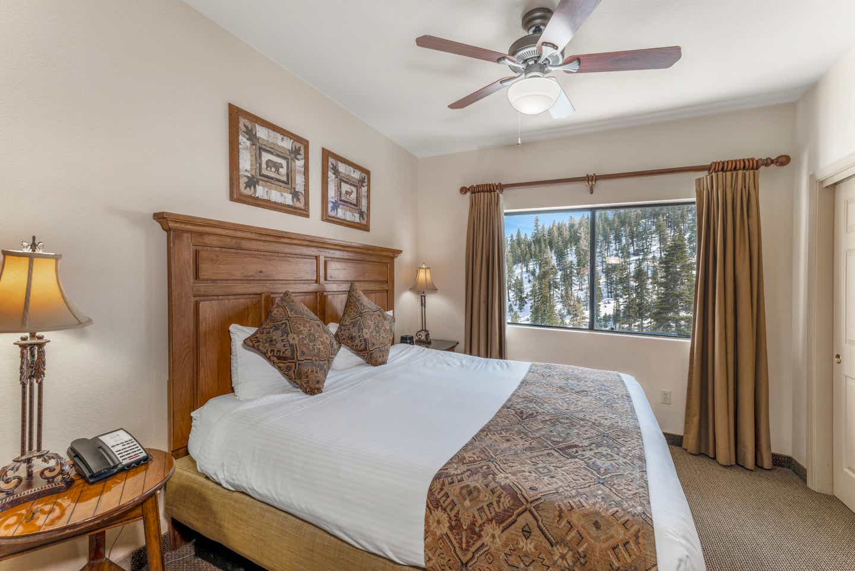 Bedroom in a Ridge Pointe two-bedroom villa at Tahoe Ridge Resort