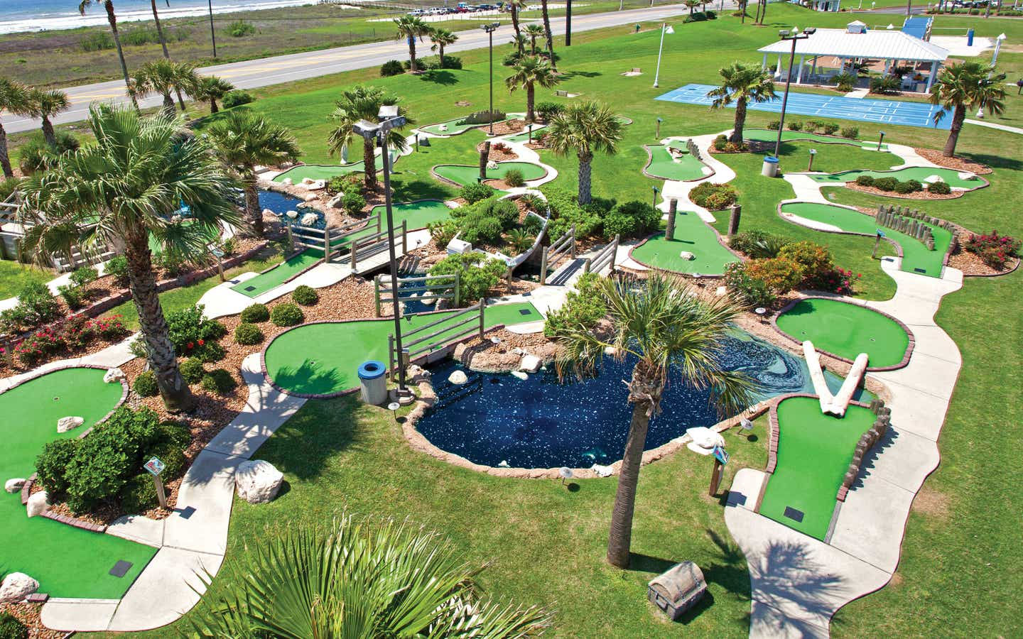 Aerial view of outdoor mini golf course at Galveston Seaside Resort.