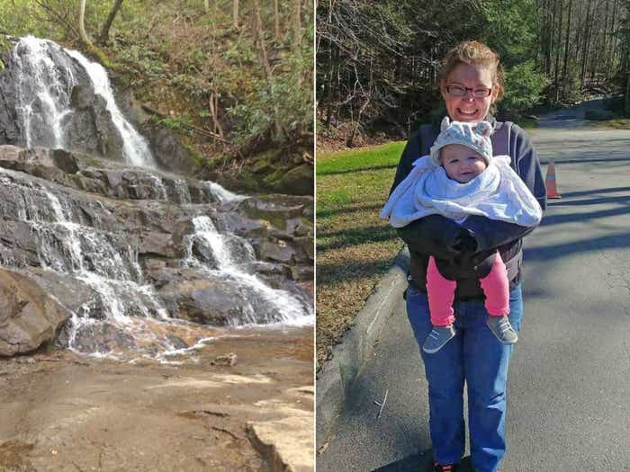 Collage of waterfall and Becca with her daughter