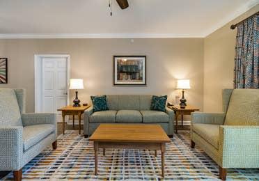 Living room in a three-bedroom villa at Williamsburg Resort