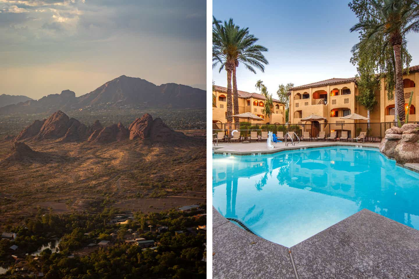 Left: A shot of the landscape featuring the peaks of camelback Mountain. Right: An exterior shot of our Scottsdale Resort pool.