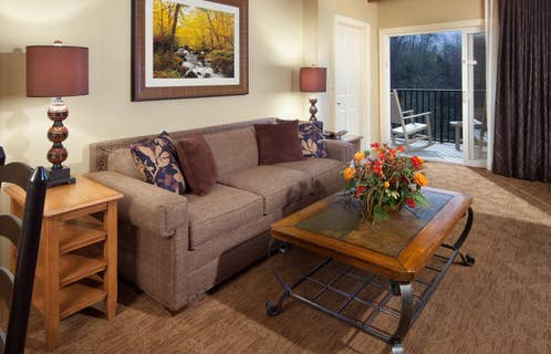 Couch in a living room at Smoky Mountain Resort in Gatlinburg, Tennessee.