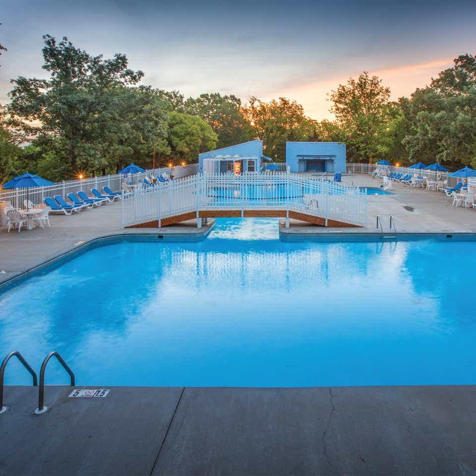 Outdoor pool at Ozark Mountain Resort in Kimberling City, Missouri.
