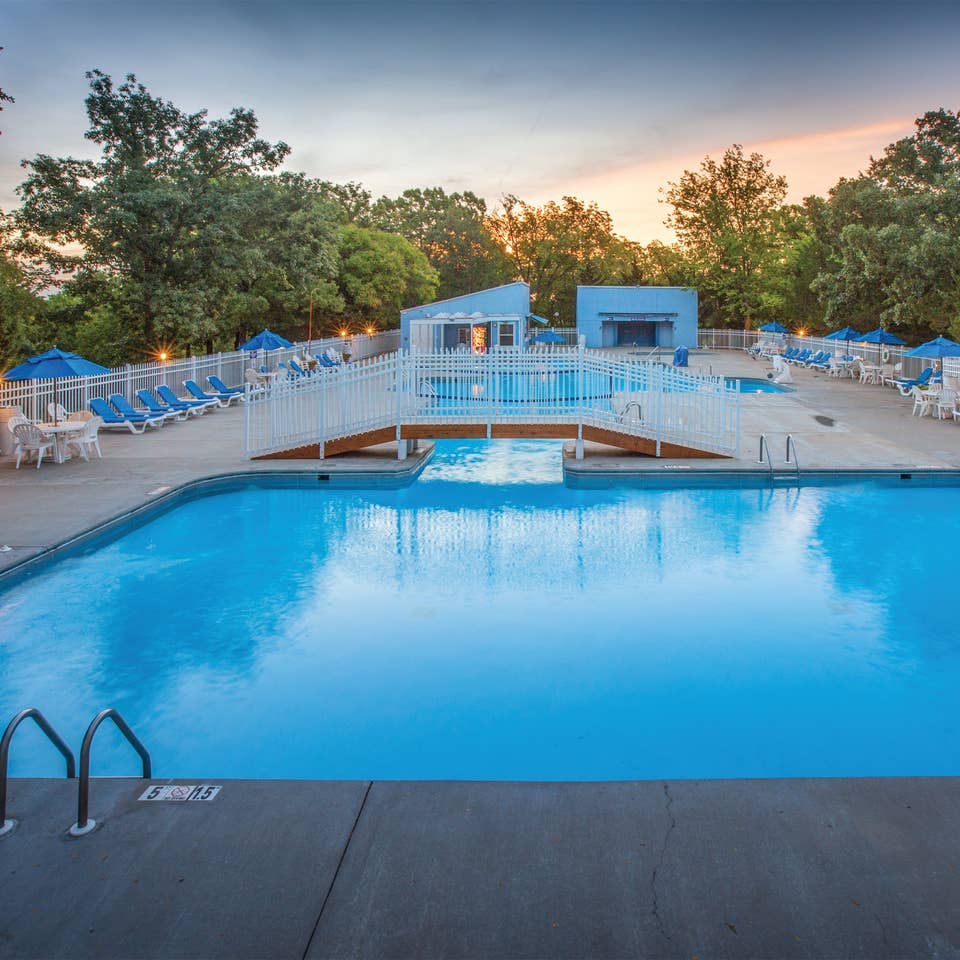 Outdoor pool at Ozark Mountain Resort in Kimberling City, Missouri.
