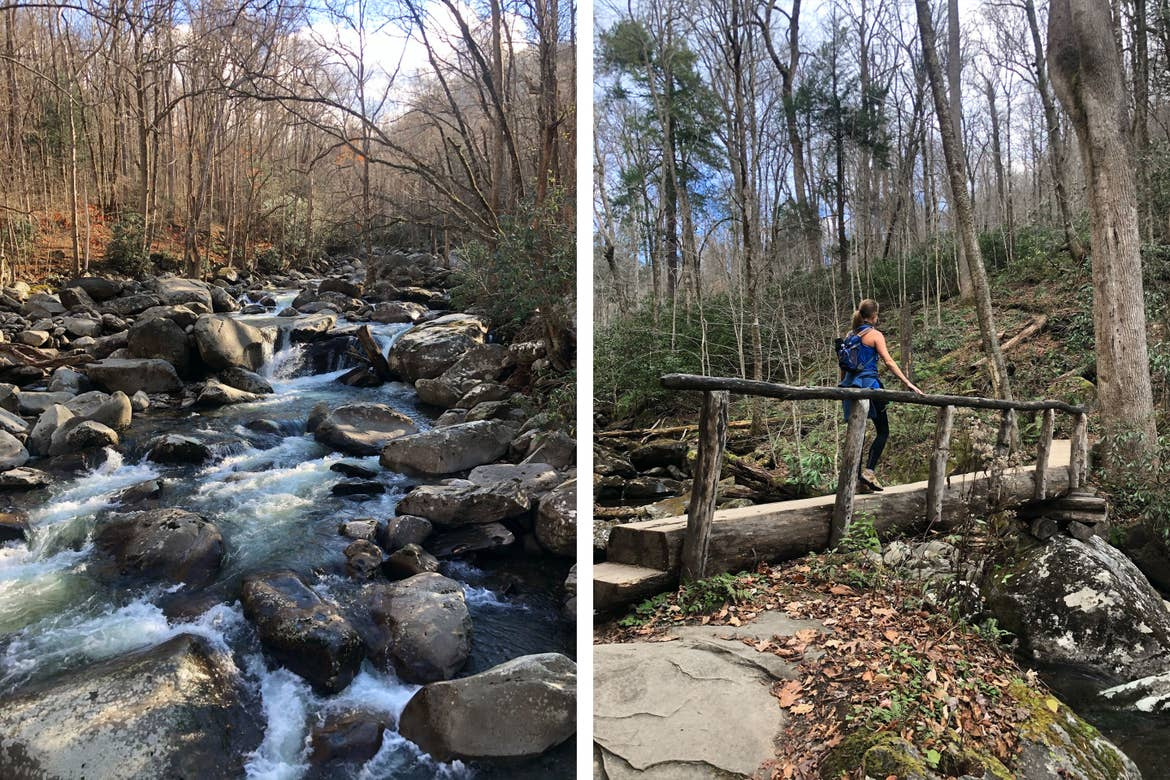 Left: A stream of water flowing through the woods and rocks. Right: Featured Contributor, Jennifer C. Harmon's friend walks across a log bridge over a stream.