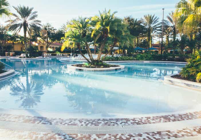 Zero-entry pool in River Island at Orange Lake Resort near Orlando, Florida