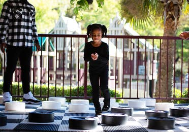 Life-sized checkers at Fox River Resort in Sheridan, Illinois.