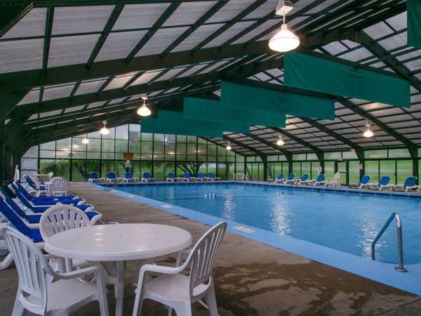 Indoor pool at Fox River Resort in Sheridan, Illinois.