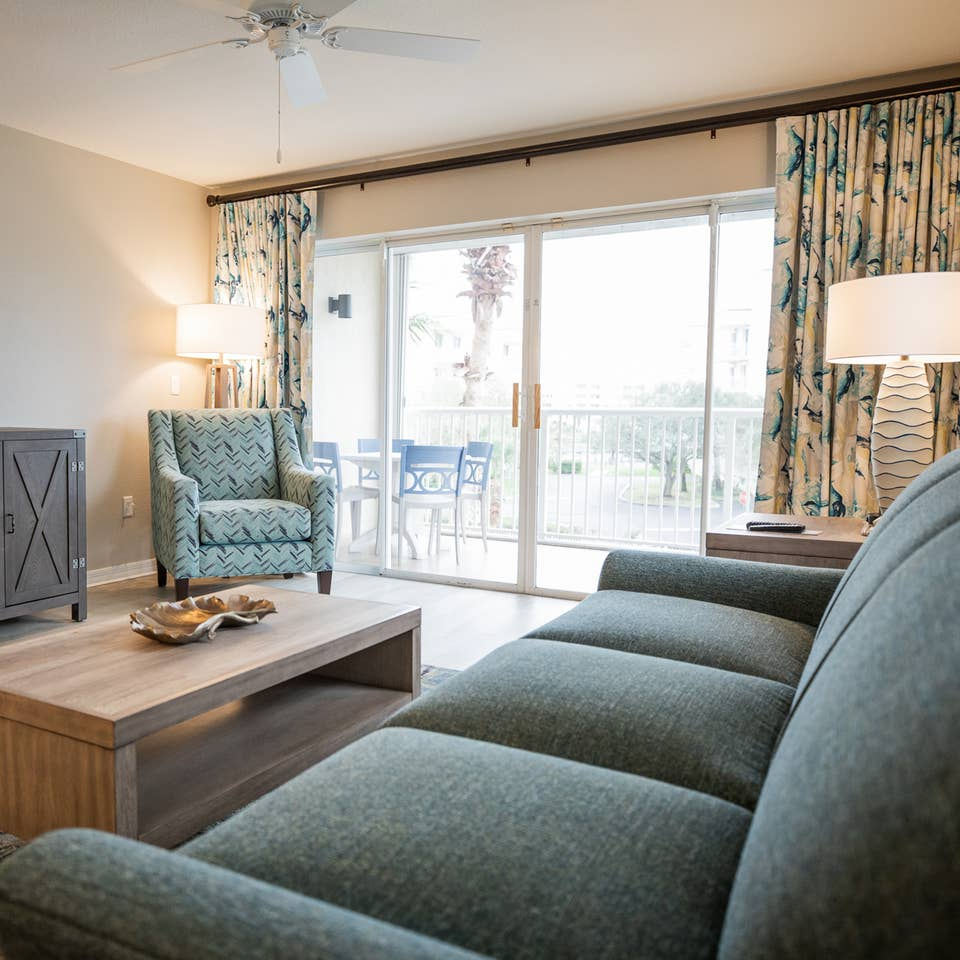 Living room at Cape Canaveral Beach Resort in Florida.