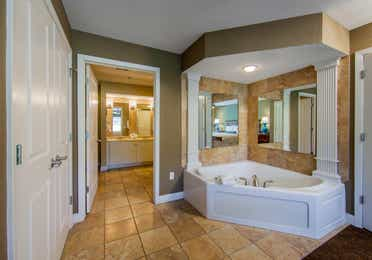 Garden tub in a two-bedroom ambassador villa at the Holiday Hills Resort in Branson Missouri.