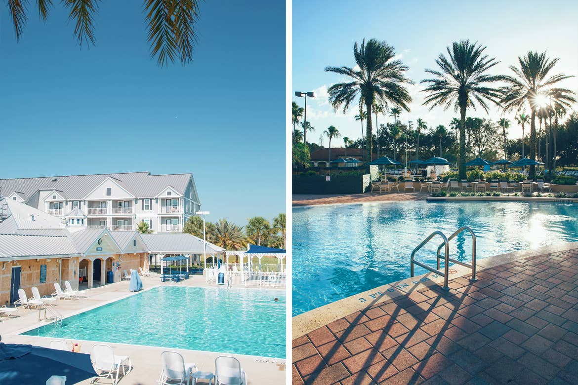 Left: View of outdoor pool and property building at Orlando Breeze Resort in Florida. Right: Outdoor pool in North Village at Orange Lake Resort near Orlando, Florida.