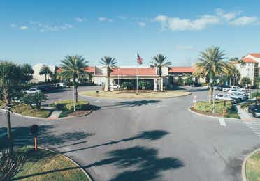 Aerial view of reception and lobby building in West Village at Orange Lake Resort near Orlando, Florida