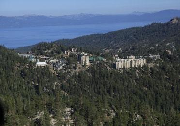 Aerial view of Tahoe Ridge Resort next to Lake Tahoe in the summer