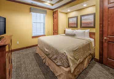 Bedroom in a three-bedroom ambassador villa at Galveston Seaside Resort