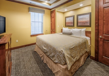 Bedroom in a three-bedroom ambassador villa at Galveston Seaside Resort