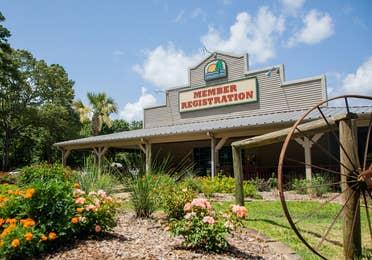 Exterior shot of lobby building at Villages Resort in Flint, Texas.