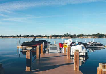 Boat dock in the West Village at Orange Lake Resort near Orlando, Florida