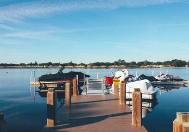 Boat dock in the West Village at Orange Lake Resort near Orlando, Florida