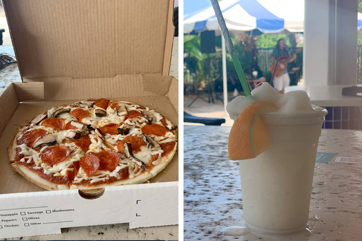 Left: A box of pizza sits on a table. Right: A pina colada sits on a bar countertop.