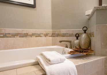 Closeup of soaking tub in a villa in East Village at Orange Lake Resort near Orlando, Florida