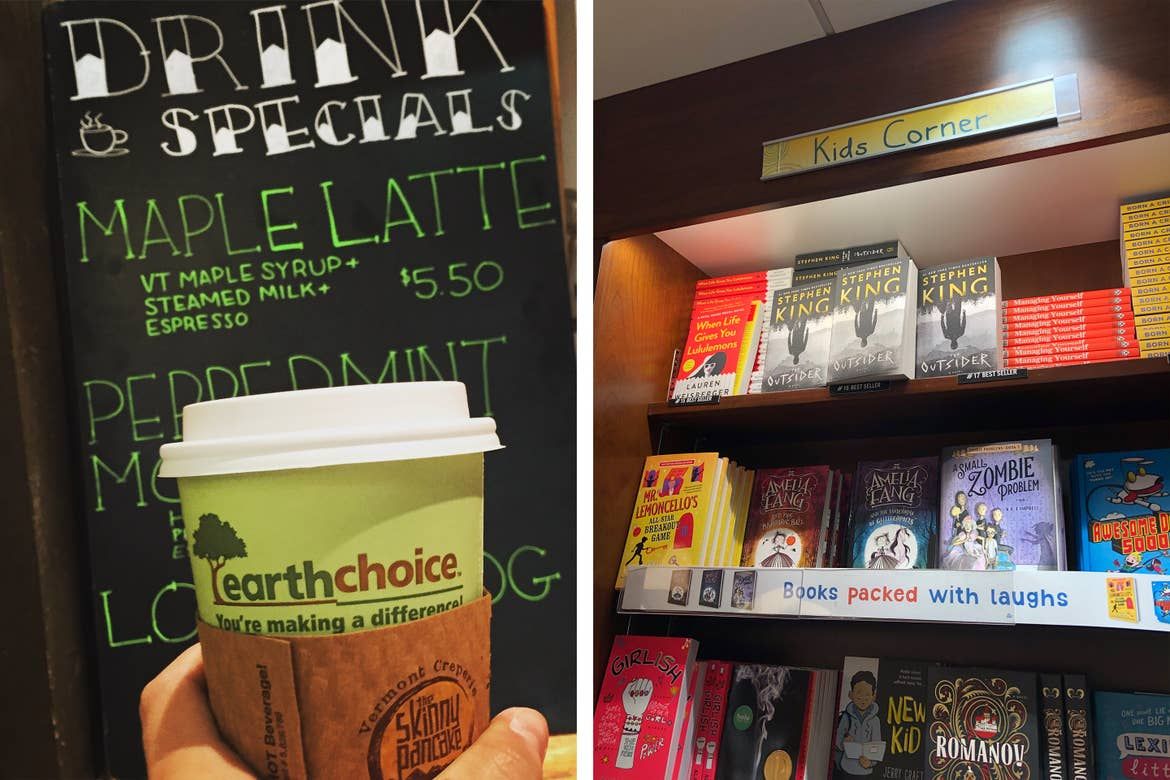 Left: A woman's hand holds a green travel coffee cup in front of a menu at a terminal cafe. Right: Various books at the 'Kids Corner' section of a terminal bookstore.