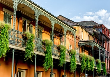 View of the French Quarter Buildings in New Orleans.