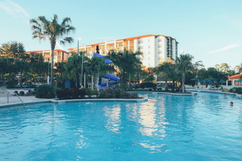 Pool with water slide in background in River Island at Orange Lake Resort near Orlando, Florida