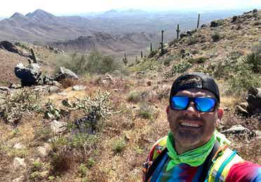 Jeff taking a selfie at Tom's Thumb lookout trail.