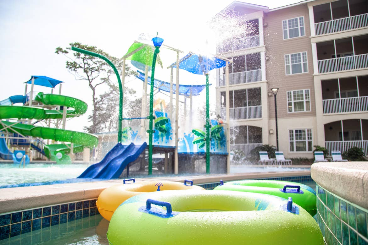 Several inner-tubes line up in the Lazy River near Splash Cove at our South Beach resort in Myrtle Beach, SC.