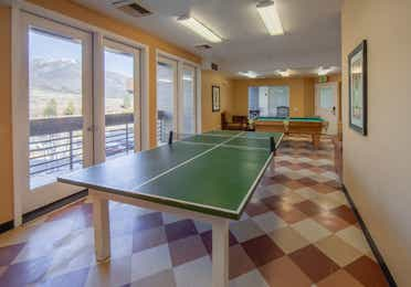 Game room with ping pong table and pool table at David Walley's Resort in Genoa, Nevada