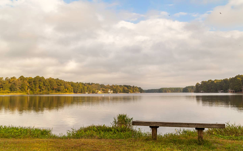 View of lake at Holly Lake Resort in Texas.