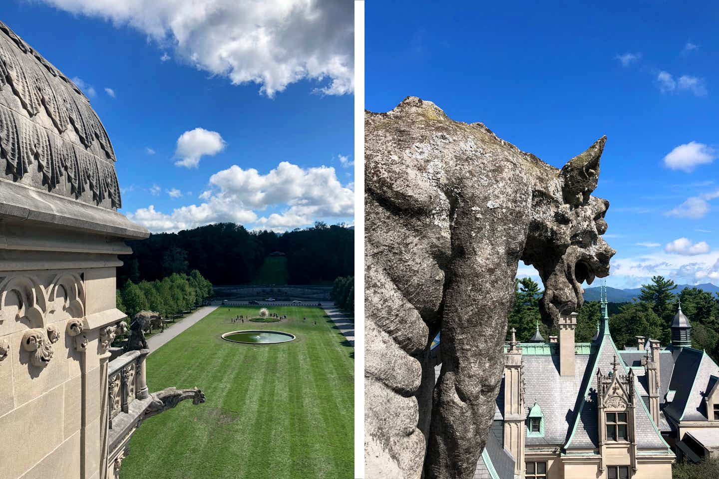 Left: The exterior of the Biltmore Estate from the rooftop as it looks out on the front lawn. Right: The exterior of the Biltmore Estate from the rooftop as it looks at the gargoyle overlooking the rooftops of the estate.