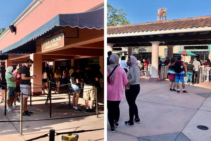 Left: Guests at 'touchless' ticket service station. Right: Guests walk enter the park Esplanade.