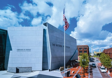 Exterior view of the WWII Museum building in New Orleans.