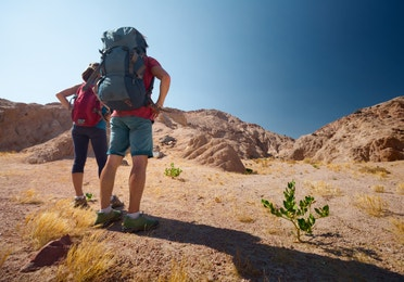 Two people wearing hiking backpacks and looking towards a mountain they're about to hike