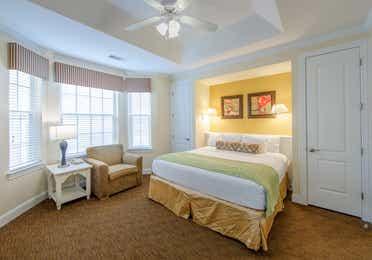 Bedroom in a two-bedroom presidential villa at Galveston Seaside Resort