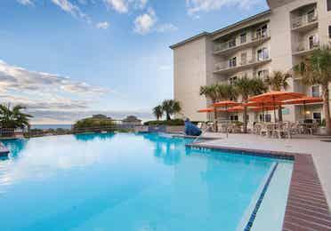 Oceanfront infinity pool at Galveston Beach Resort in Texas.
