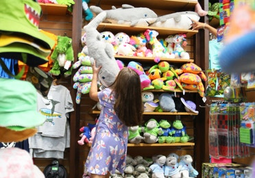 Young girl playing with shark stuffed animal in Marketplace at Orange Lake Resort near Orlando, Florida