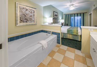 Bathroom in a villa at South Beach Resort