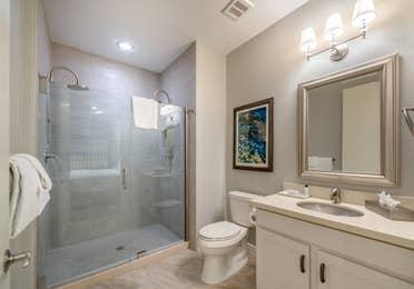 Bathroom in a two-bedroom Signature Collection villa at Galveston Seaside Resort